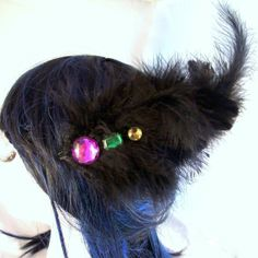 Black feather fascinator with multi color gems by RuthNoreDesigns, $12.00
