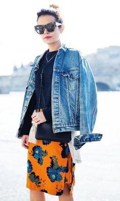 Look: Jaqueta Jeans + Saia Floral