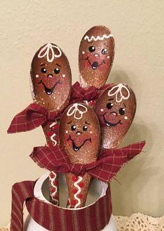 Gingerbread Handpainted Wood Spoons Set of Four Housewarming
