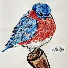 #bird #nature #art #watercolor #animal #red #blue #to_lahtinen
