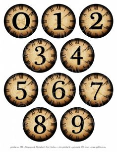 788d. Steampunk Numbers 2.5 inch circles
