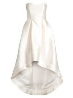 Parker Black Roxanne Satin Strapless High-low Gown In Ivory High Low Gown, High Low Skirt, Satin Dresses, Gowns, Formal Dresses, Wedding Dresses, Parker Black, Strapless Gown, Fit And Flare