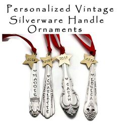 Stamped Spoon Ornament Personalized Vintage by TheSilverwearShop