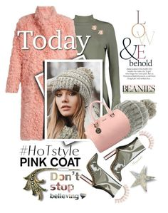 """Pom Pom Beanie & Pretty Pink Coat"" by ragnh-mjos ❤ liked on Polyvore featuring Boohoo, Preen, CC, adidas Originals, ASOS, Kate Marie and Nicole"