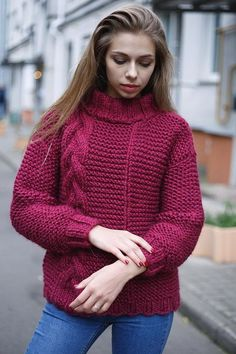 Items similar to Oversize knit sweater woman Chunky alpaca sweater Bulky yarn sweatshirt Chunky wool sweater woman Giant knit wear Woman Alpaca pullover on Etsy Chunky Knitwear, Chunky Wool, Girls Dresses Online, Knitted Flowers, Knitwear Fashion, Cable Knit Sweaters, Sweater Outfits, Aesthetic Clothes, Sweaters For Women