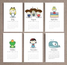 2014 Calendars of fairy tale characters including little red riding hood, snow white, alice in wonderland!  http://www.etsy.com/listing/161516474/2014-wall-calendar-birds-of-a-feather?ref=listing-shop-header-1