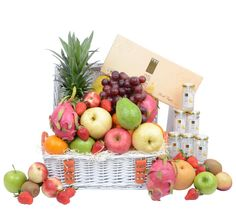 Send your fruity thought, concern or even celebration through our colourfully decorated fruit hamper that is both vibrant and exciting! Fruit Hampers, Gift Hampers, Beautiful Fruits, Large Baskets, Message Card, Blueberry, Birds, Apple, Chicken
