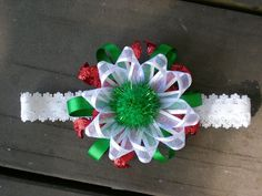 Christmas Inspired Hairbow by AllThatIsPrecious on Etsy, $7.00