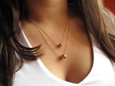 Layered Rose Gold Necklace by UESAtelier
