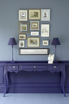 Little Greene - Juniper Ash on walls, Thai Sapphire on desk/paneling