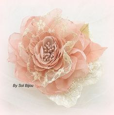 Bridal Hair Fascinator Clip in Coral Gold Ivory Tan by SolBijou