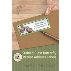 "Springtime Stained Glass Butterfly Couple personalized return address labels by  Primfection Designs add a  splash of color to Spring wedding invitations and letters.  Customize the labels with desired  text, font and font color. Labels are peel & stick, laser printed on  premium materials, come 30 labels per sheet, and measure 2.67"" by  1"".#addresslabels #spring #springtime #wedding #invitations #return  #address #butterfly #labels #everyday  #couple #cheaplabels #primfectiondesings"