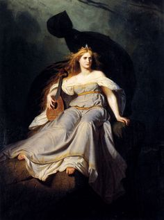 Muse of Music. Karl Ludwig Adolf Ehrhardt (German, 1813-1899). Oil on canvas. In 1838, Ehrhardt went to Dresden and became assistant to the history painter Edward Bendemann. Ehrhardt was involved in the decoration of the royal residence palace, especially in various murals of the throne room and ballroom.