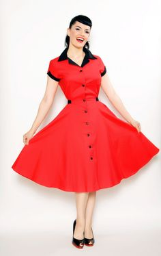 Diner Dress in Red by Heartbreaker Fashion $96