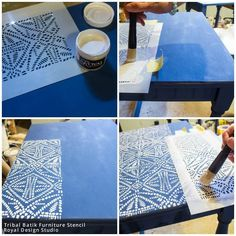 Tribal Batik Stencil by Royal Design Studio and Chalk Paint Paint Furniture, Furniture Projects, Furniture Makeover, Furniture Stores, Furniture Outlet, Furniture Design, Table Furniture, Wood Projects, Outdoor Furniture