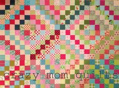 """Sort of a """"wiggly chevron"""" quilt pattern....great use for charm squares."""