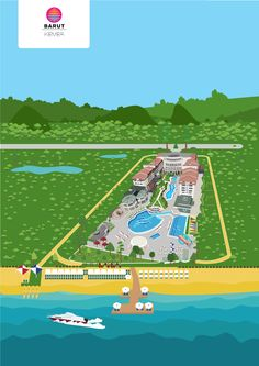 Vector illustration map Kemer Resort Hotel Barut Kemer Resort