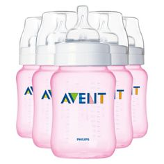 Pink Avent Bottles don't show discoloration, you don't have to be as careful about what you put them in the dishwasher with (tomato sauce, etc.)