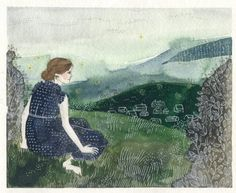 """'Afternoon on a Hill' by Yelena Bryksenkova. """"I will be the gladdest thing under the sun! I will touch a hundred flowers and not pick one. I will look at cliffs and clouds with quiet eyes. Watch the wind bow down the grass, and the grass rise. and when lights begin to show up from the town, i will mark which must be mine, and then start down! (Poem by Edna St. Vincent Millay that inspired this painting)"""