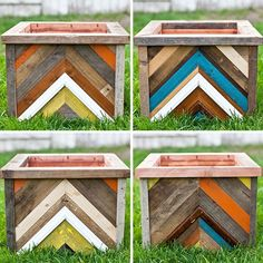 DIY Chevron planters, I would make them into side tables or something.