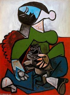 Pablo Picasso >> Woman sitting with dog  |  (Oil, artwork, reproduction, copy, painting).