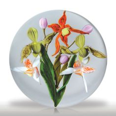 Paul Stankard 1981 arethusa orchids paperweight.(83) images