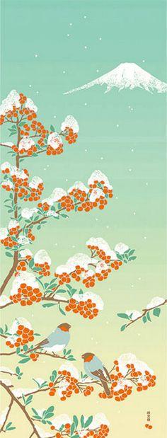 Japanische Tenugui Stoff Berg rote Früchte Vogel Emerald