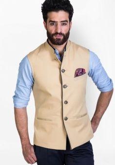 Buy online Waistcoat Jackets button - Solid beige waistcoat from Jabong Mens Indian Wear, Indian Groom Wear, Indian Men Fashion, Mens Fashion Wear, Men's Fashion, Nehru Jacket For Men, Nehru Jackets, Waistcoat Men, Man Dress Design
