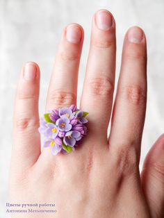 Ring Lilac Syringa Polymer Clay Flowers par SaisonRomantique