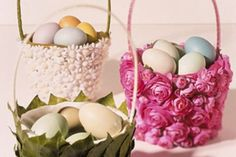 hotglue some flowers to basket. via martha stewart