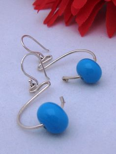 Sterling Silver Turquoise Bead Dangle by ZaZing on Etsy, NZ$55.00