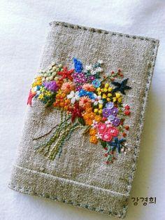 프랑스자수 성경커버 : 네이버 블로그 Herb Embroidery, Embroidery On Clothes, Hand Embroidery Patterns, Embroidery Applique, Cross Stitch Embroidery, Embroidery Designs, Embroidered Cushions, Embroidered Bag, Book Making