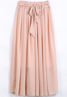 Pink Elastic Waist Drawstring Pleated Chiffon Skirt