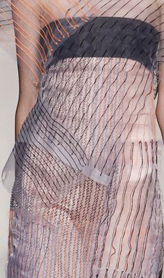 Textiles Design for Fashion - delicate sheer dress with layered blocks & bold stitch detail mimicking hand-drawn lines // Maison Martin Margiela