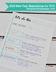 2013 New Year Resolutions worksheet printable