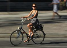 Trick to wearing a skirt while riding a bike