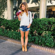 fall outfit idea, transitional style, cute outfit with jean shorts and booties, striped tee, stripes outfit, starbucks, dallas blogger