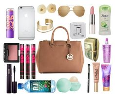"""What's in my purse"" by trill-queen478 ❤ liked on Polyvore featuring moda, MICHAEL Michael Kors, By Malene Birger, Chanel, Happy Plugs, Linda Farrow, Eos, Revolution, Maybelline y NARS Cosmetics"