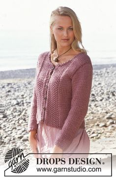 DROPS Jacket in Eskimo with moss stitch Free pattern by DROPS Design.