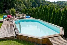 Piscine bois Cap ferré 6,60 x 4,10 m - Maison Facile : www.maison-facile.com #eau #piscine