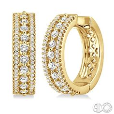 Tri Color 14k Gold White Rose And Yellow Pave Set Diamond Hoop Earrings With Milgrain Detail Our Bracelets Pinterest
