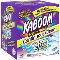 Kaboom Scrub Free! Starter Kit keeps your toilet clean for up to 6 months without scrubbing (up to 3 months per refill pouch, 2 pouches included in Starter Kit) * Safe for Septic Systems and wont harm toilet tank parts! * Easy set-up and refill, no tools required * Powerful hands free cleaning action: cleans and deodorizes with every flush! Best Toilet Bowl Cleaner, Toilet Bowl Ring, Hard Water Stains, Septic System, Toilet Cleaning, Cleaning Hacks, Cleaning Supplies, Starter Kit, 3 Months