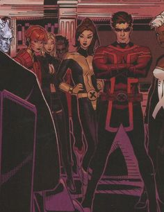 Iceman, Rachel Summers, Nightcrawler, Kitty Pryde, Scott Summers and Storm of the X-Men in Uncanny X-Men vol. 3 #25 by Brian Michael Bendis and Chris Bachalo. Ocgtober 2014.