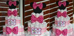 Tort scutece...Tematica Minnie Mouse... Minnie Mouse, Cake, Handmade, Diy, Hand Made, Bricolage, Kuchen, Do It Yourself, Torte