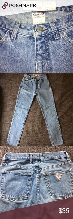 High-waisted GUESS jeans. Guess jeans in perfect condition; only worn a couple times. High-waisted, vintage skinny jeans has a faded light blue coloring. Perfect with a crop top, bralette, blouse.. etc. GUESS ❓JEANS Jeans Skinny