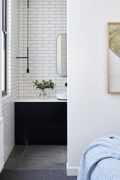 Albert Park - Larritt-Evans. black vanity unit, white subway tiles