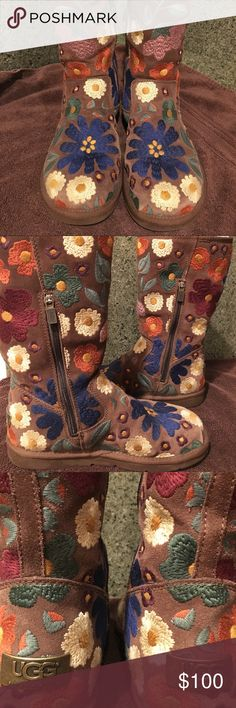 Embroidered UGG boots-tall Unique UGG boots, embroidered details. These have been worn gently, not many times, and as you can see from pictures are in excellent condition. They are 11.25 inches tall UGG Shoes Winter & Rain Boots