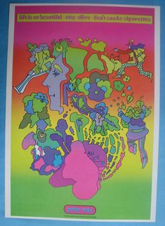 Peter Max 1971 Poster Ad. American Cancer Society
