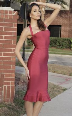 This Wine Red Flared Midi Bandage Dress features a halter style neckline that exposes your shoulders and collarbones for a femininity that captivates. Purple Bandage Dress, Burgundy Midi Dress, Bandage Dresses, Prom Dresses, Different Dresses, Types Of Dresses, Mermaid Midi Dress, Red Cocktail Dress, Dress Silhouette