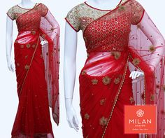 Elegance is not being Noticed, it's about being Remembered.. Milan Design introducing ` #RedDesignerFabric Saree with beads and flower handwork.  #milanfashionsarees #milansilksarees #milanfabricsarees #Milandesignersarees #Milansarees #Milandesignsarees